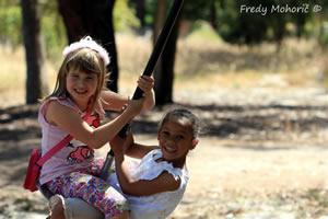 Camphill Market - girls on swing