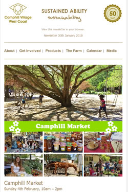 Camphill Village - JANUARY 2018 Newsletter